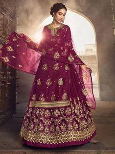 Violet Jacquard Partywear Lehenga Style Suit Long Choli Lehenga, Raw Silk Lehenga, Lehenga Suit, Lehenga Style, Net Lehenga, Bridal Lehenga Choli, Sharara Suit, Lehenga Blouse, Anarkali Dress