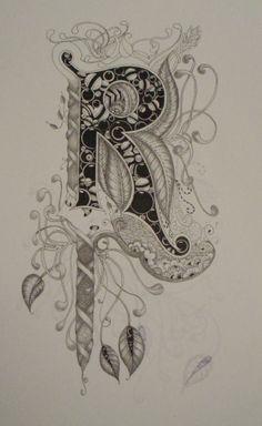 "Jane Monk Studio - Longarm Machine Quilting & Teaching the Art of Zentangle®: More on the Letter ""R"" Alphabet Art, Letter Art, Graffiti Alphabet, Doodles Zentangles, Zentangle Patterns, Doodle Lettering, Doodle Fonts, Lettering Styles, Long Arm Quilting Machine"
