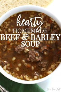 Delicious Soups To Make This Winter Delicious and wholesome beef and barley soup with tender and flavorful steak and a rich broth.Delicious and wholesome beef and barley soup with tender and flavorful steak and a rich broth. Hearty Soup Recipes, Beef Recipes, Cooking Recipes, Beef Broth Soup Recipes, Soup Broth, Soup With Beef Broth, Barbecue Recipes, Crockpot Beef Barley Soup, Coleslaw