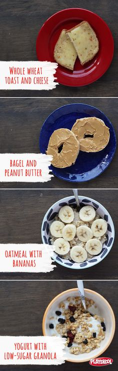 Here are some yummy evening snack ideas to give your kids as they wind down for bedtime. Try whole wheat toast with cheese, a bagel with peanut butter, a bowl of oatmeal with bananas, or yogurt with low-sugar granola.