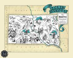 South Dakota SD Vintage Map Custom Map Art Print Map Retro Personalized Map Wedding Housewarming Gift Home Decor Wall Decor Wall Art Sioux