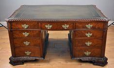 Partners Desk, Desk In Living Room, Old Desks, Antique Desk, Home Desk, Wooden Desk, Antiques For Sale, Cabinet Makers, Brass Handles