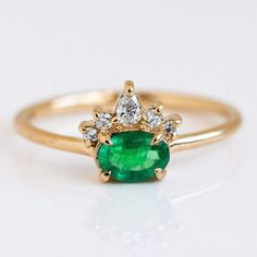 Olina Emerald Ring by Emi Conner I Love Jewelry, Jewelry Making, Natural Emerald, Solid Gold, Heart Ring, Wedding Rings, Wedding Bells, Engagement Rings, Jewels