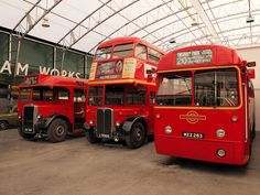 This is almost the perfect museum for me because it's got old buses, old planes, and old cars. Here you'll see an old RT (like the kind I used to drive) flanked by two single-deckers. Bedford Buses, Rt Bus, Nice Bus, Routemaster, Old Planes, Buses And Trains, Double Decker Bus, London History, Bus Coach