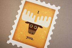 Stamp Card I Moose You by RUCHIdesign on Etsy, $2.50