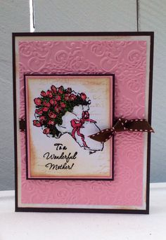 """Mother's Day Card"" for this beautiful card I stamp it with FLAVIA by Inkadinkado, and the sentiment is from WONDERFUL MOTHER by S.U"