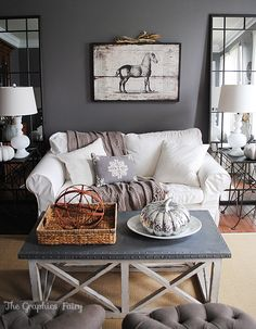Neutral grays and creams for fall decorating