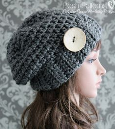 Crochet PATTERN Crochet Slouchy Hat Pattern by PoshPatterns