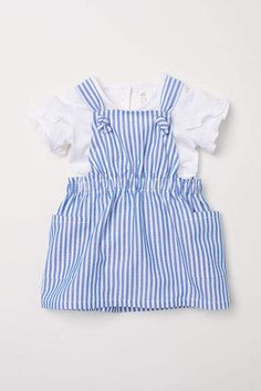 Dungaree dress and top - White/Blue striped - Kids Little Girl Outfits, Baby Outfits, Baby Girl Dresses, Little Dresses, Kids Outfits, Baby Clothes Patterns, Cute Baby Clothes, Baby Overalls, Dungaree Dress