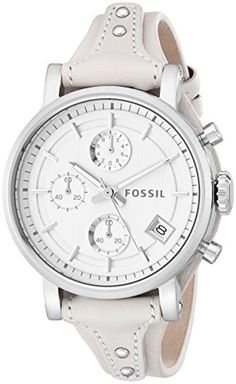 Fossil Womens ES3811 Original Boyfriend Stainless Steel Watch with Beige Leather Band ** Find out more about the great product at the image link.
