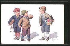 Belle-artiste-AK-Karl-jour-ferie-ecoliers-garconnets-avec-1913