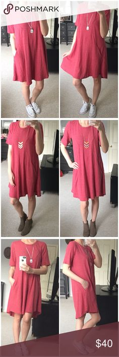 """▫️Coral Baby Thermal Knit Dress Just the cutest! Gorgeous coral colored everyday dress. HAS POCKETS! Made of baby thermal Knit...so soft and stretchy. Very breathable and lightweight, but not too thin.  Perfect for any day wear! Can be layered or worn alone.  Adorable! Modeling small. I am 5'4"""" for reference. 45% cotton 51% polyester 4% Spandex. Made in USA. Measurements as follows: Bust: (S) 18"""" (M) 19"""" (L) 20"""" Length: (S) 34"""" (M) 35"""" (L) 36"""" *Bundle 2+ items for a discount. Dresses Mini"""