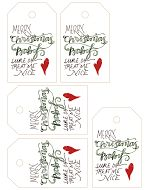 Free Calligraphy Printable Tags (The Hive Studio: www.lindseybee.com)!* *Each gift tag was inspired by favorite Christmas songs &/or movie quotes, & are not my own.