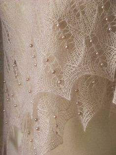 Beautiful lace knitted shawl,knitted into it 162 real freshwater pearls. by Yamahaschen
