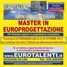 Offerta di lavoro: CONSULENTE PROGETTAZIONE EUROPEA - njobs.itCORSO SPECIALE DI 3 GG FORMATIVI IN #EUROPROGETTAZIONE PER REALIZZARE UNA SHORT LIST DI #EUROPROGETTISTI* + LABORATORI INTERATTIVI e utilizzare totalmente i fondi diretti #europei. (*competenza molto richiesta da #Enti Pubblici e Privati, #Università, Enti locali, PMI ed Enti Parchi che necessitano dei #finanziamenti europei per #progetti di #sviluppo del #territorio). www.eurotalenti.it