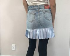 Check out our upcycled denim skirt selection for the very best in unique or custom, handmade pieces from our shops. Upcycled Vintage, Vintage Denim, Short Jean Skirt, Denim Outfit, Denim Skirt, Skirts, Unique, Clothes, Etsy
