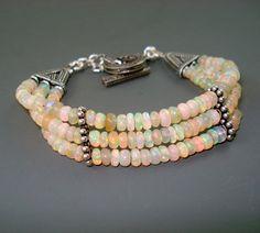 Opal Bracelet Fire Opal Bracelet with Oxidized by JewelryByJacoby
