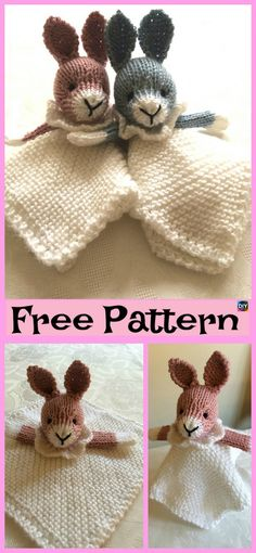 8 Adorable Knit Animal Lovey Free Patterns - DIY 4 EVER These Knit Animal Lovey projects are super cute an adorable, and they can be quick to make, and will also be a great cuddly companion for a young child. Knitted Cat, Knitted Animals, Animal Knitting Patterns, Crochet Patterns, Crochet Lovey Free Pattern, Crochet Unicorn, Crochet Baby, Little Cotton Rabbits, Knitted Baby Blankets