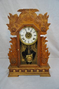 1890 Vintage 8 Day Parlor Gingerbread Mantle Clock by FollyBridge