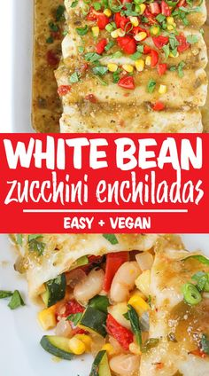 White Bean Zucchini Enchiladas Vegan Mexican Recipes, Best Vegan Recipes, Good Healthy Recipes, Whole Food Recipes, Meatless Recipes, Healthy Foods, Free Recipes, Zucchini Enchiladas, Vegan Zucchini