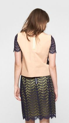 Carven Lace Skirt in Navy and Neon Yellow | The Dreslyn