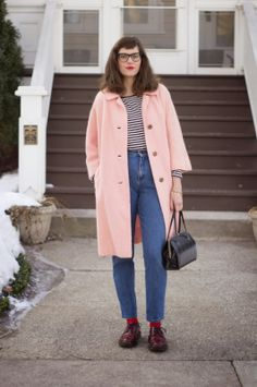 Hungry Heart Vintage. pink coat. bright socks. doc martens. stripes. ladylike top handle purse.