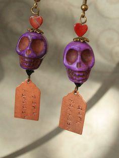 Skull Earrings in Purple Brass Tag 'Dark by victoriasghost on Etsy, $11.95