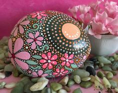 Hand Painted Rock Stone Art Painted Rock Rock by etherealandearth