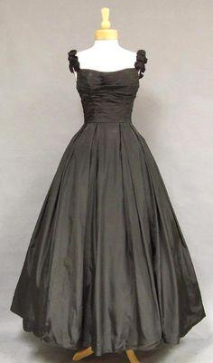 ~Will Steinman Black Taffeta 1950s Ball Gown~