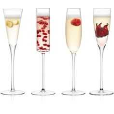 Lsa Lulu Assorted Champagne Flutes, Set of 4 ($79) ❤ liked on Polyvore featuring home, kitchen & dining, drinkware, drinks, food, fillers, kitchen and lsa international