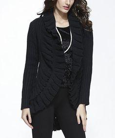 Look at this #zulilyfind! Black Wool-Blend Open Cardigan #zulilyfinds. Can't wait to get it!