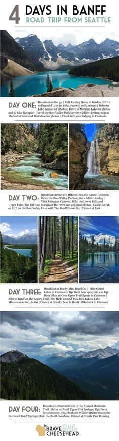 Was in Banff during the winter.would love to go in the summer. Four-day Banff National Park itinerary, a summer road trip from Seattle to Canada. Voyage Usa, Voyage Canada, Vacation Destinations, Vacation Spots, Summer Vacation Ideas, Summer Vacations, Summer Travel, Trekking, Parc National De Banff