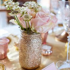 Gold Glitter Jar Vase For Wedding Centrepieces