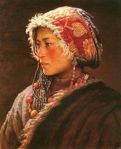 Fille tibétaine; huile, par 聽 LI ZiJian.