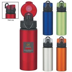 """Your customers will flip their lid when you hand them this awesome product! With a height of 9 1/2"""", this 25 oz. aluminum sport bottle features a flip top lid and a plastic loop for easy carrying. There is a push button to pop the lid, and a clasp locks it when not in use. Choose from several metallic colors and add a silkscreen imprint of your logo for brand awareness. This item is BPA free and meets FDA requirements. Hand washing is recommended. These orders are sold in full carton qu..."""