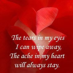 The tears in my eyes I can wipe away, The ache in my heart will always stay.