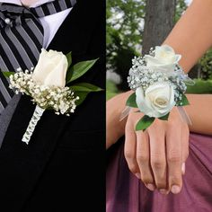 white rose Boutonnieres & Wrist Corsages 16-pack