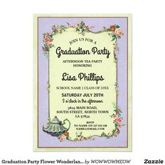The 45 best zazzle graduation invites images on pinterest graduation party flower wonderland teapot invite filmwisefo