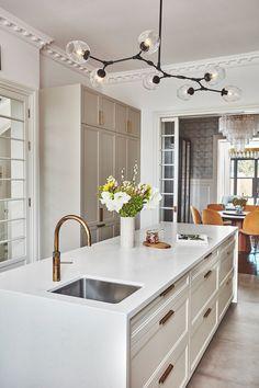 Family Kitchen, Kitchen Dining, Kitchen Redo, Kitchen Layout, Kitchen Ideas, Brass Cabinet Pulls, Air Conditioning Units, Smart Home Technology, Desk Areas