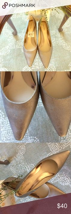 Calvin Klein Rose Gold Pumps Calvin Klein rose gold kitten heel pumps. The color is stunning and only worn once. Rubber skid proof soles and extra cushion insoles make this shoe very comfortable with style. Calvin Klein Shoes Heels