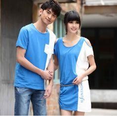 Korean 2-Tone Design GIRL wear Blue