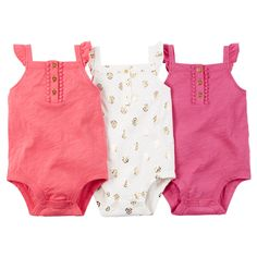 With flutter sleeves and henley styling, these pretty bodysuits are a perfect start to her outfits.