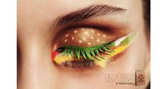 """Visual Puns (303, Perception): """"Get a tasty new look."""" Burger King's eye-opening ad is just one example of how brands, marketers and advertisers utilize visual puns to target not only all of society, but also, specific demographics. With this ad, Burger King puts its own spin on the term """"beauty junkie"""" with its foodie make-up advertisement from the Netherlands."""