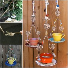 Fork Wire and Teacup Bird Feeder