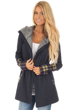 a611880cb1 Lime Lush Boutique - Navy Plaid Hooded Fleece Open Cardigan