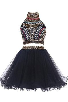 Sexy Two Pieces Backless Black homecoming prom dresses, Black Cocktail – SposaDresses Pretty Homecoming Dresses, Two Piece Homecoming Dress, Black Prom Dresses, Hoco Dresses, Cheap Prom Dresses, Dance Dresses, Dress Black, Backless Dresses, Formal Dresses