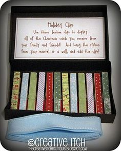Christmas Gift to make:  Holiday Clips for cards...even includes the ribbon hanger!