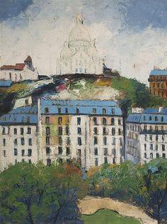 Elisée MACLET (1881-1962) Le Sacré-Cœur vu du square d'Anvers
