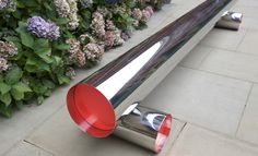 Very modern tubular steel bench by Alexander Taylor for Bench Years exhibition at the V in 2012.