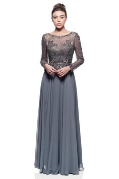 Designer floor length long sleeves Dark Grey Chiffon Mother of the Bride Dress Evening Gown Party L - 4XL
